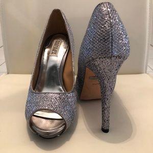 Silver Glitter Metallic Humbie II Open Toe Heel